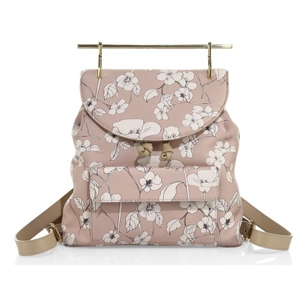 M2MALLETIER flower-print leather backpack - Floral-print leather backpack with sleek, modern handle.