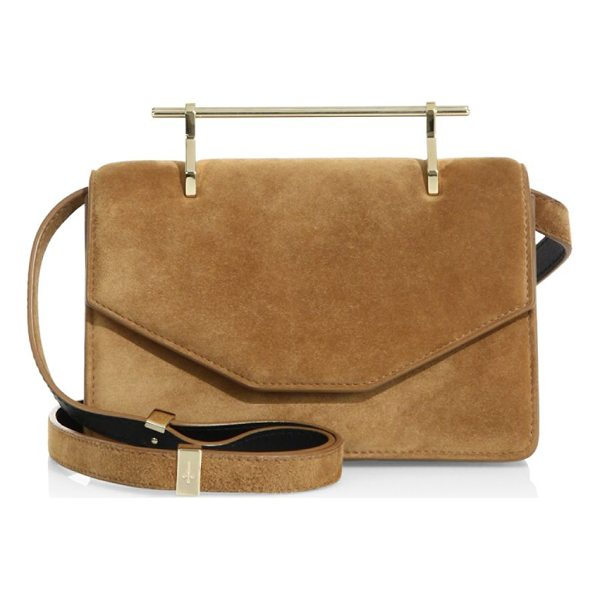 M2MALLETIER indre tonal stitched suede satchel - Classic suede satchel with metallic top handle. Top handle....