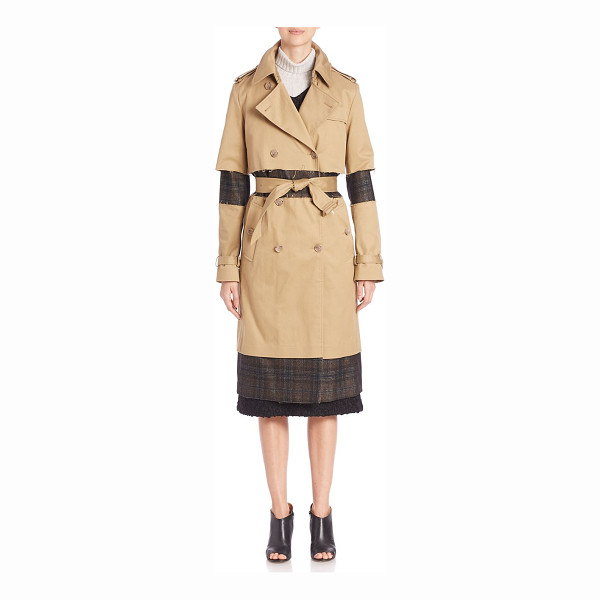MAISON MARGIELA fur collar trench coat - Classic trench updated with plaid detailing and fur collar....