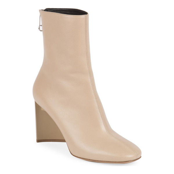 MAISON MARGIELA leather booties - Architectural heel elevates retro-chic leather bootie.