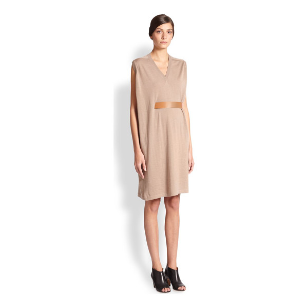 MAISON MARGIELA Belted drape sweater dress - This artful design in lightweight wool is cinched at the...