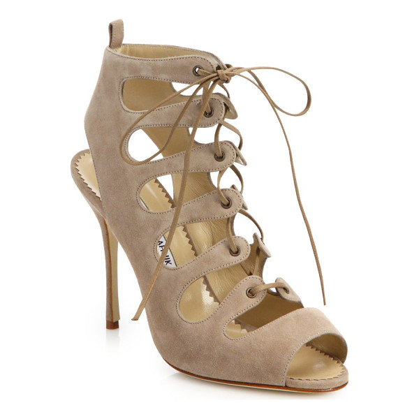 MANOLO BLAHNIK Attal suede lace-up sandals - These beautifully crafted suede sandals lace up the front...