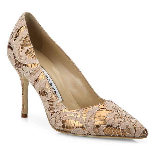 MANOLO BLAHNIK bb 90 lame lace pumps - EXCLUSIVELY AT SAKS FIFTH AVENUE. Metallic point-toe pump...