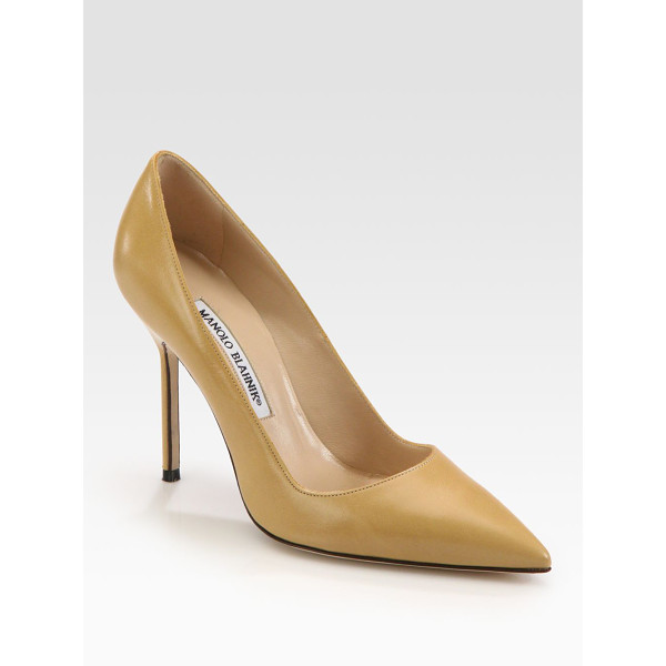 MANOLO BLAHNIK bb 105 leather point toe pumps - Go-to leather design with a skinny heel and flattering...