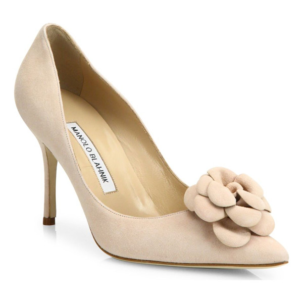 MANOLO BLAHNIK camelia suede pumps - EXCLUSIVELY AT SAKS FIFTH AVENUE. Suede point-toe pump with
