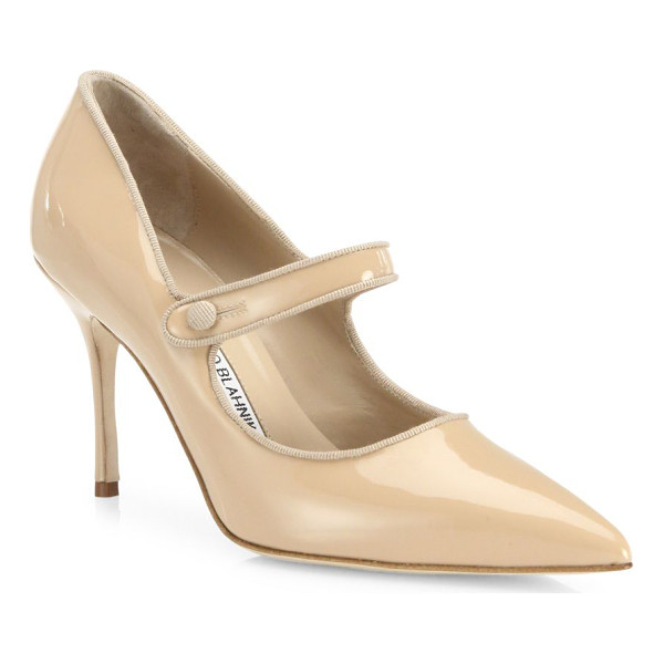 MANOLO BLAHNIK campari patent leather mary jane pumps - EXCLUSIVELY AT SAKS FIFTH AVENUE. Timeless point-toe Mary