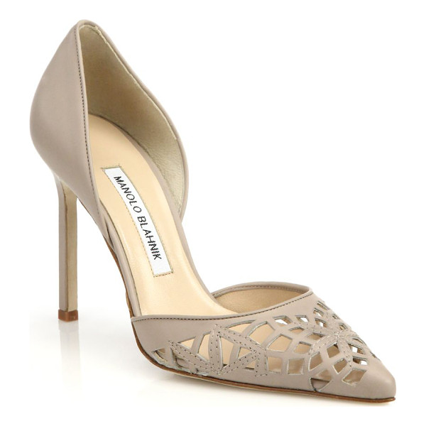 MANOLO BLAHNIK Cutout leather d'orsay pumps - A laser-cut pattern lends artful statement appeal to these...