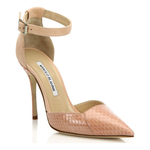 MANOLO BLAHNIK Davia suede & watersnake pumps - EXCLUSIVELY AT SAKS FIFTH AVENUEAnkle-strap pump enriched...