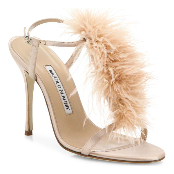 MANOLO BLAHNIK eila feather-trimmed satin t-strap sandals - Tonal feathers add glam style to satin T-strap sandal.
