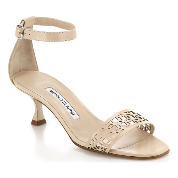 MANOLO BLAHNIK Geo leather ankle-strap sandals - EXCLUSIVELY AT SAKS IN BLACK AND NUDE. Italian-crafted kid...