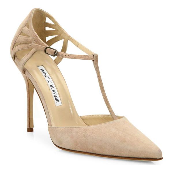 MANOLO BLAHNIK getta suede t-strap pumps - EXCLUSIVELY AT SAKS FIFTH AVENUE. Suede T-strap pump with...