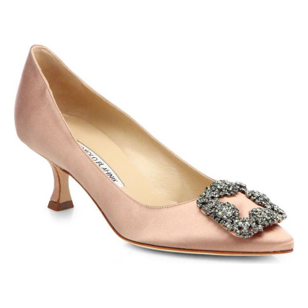 MANOLO BLAHNIK Hangisi 50 satin pumps - A luxurious crystal-encrusted adornment sparkles on this...
