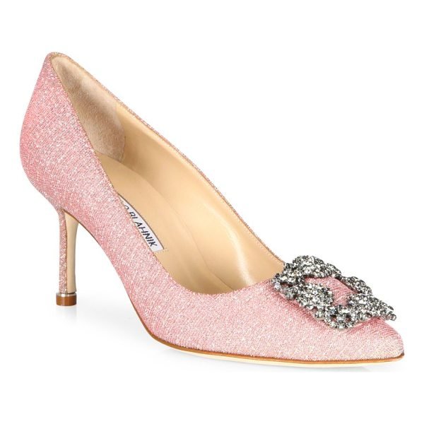 MANOLO BLAHNIK hangisi 70 jeweled pump - Elegant signature silhouette crowned with crystal brooch....