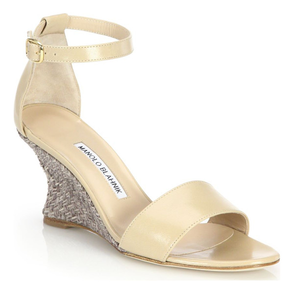 MANOLO BLAHNIK Lauratowe leather wedge sandals - EXCLUSIVELY AT SAKS FIFTH AVENUETapered wedge heel lifts...