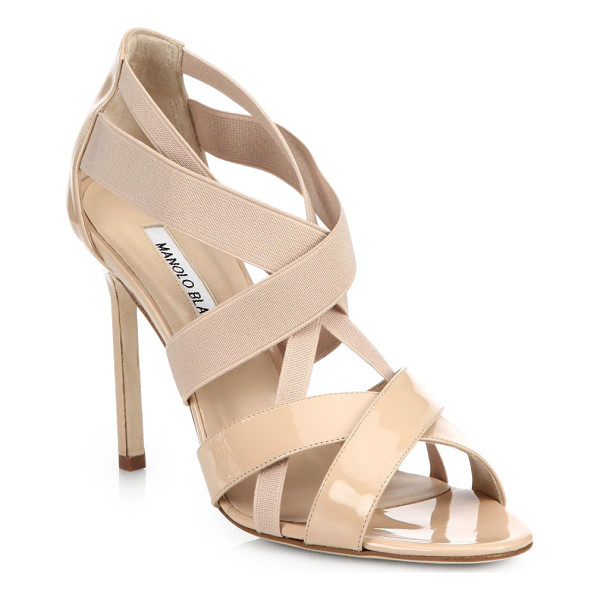 MANOLO BLAHNIK Patent & elastic strappy sandals - Glossy patent and comfortable straps of stretch elastic...