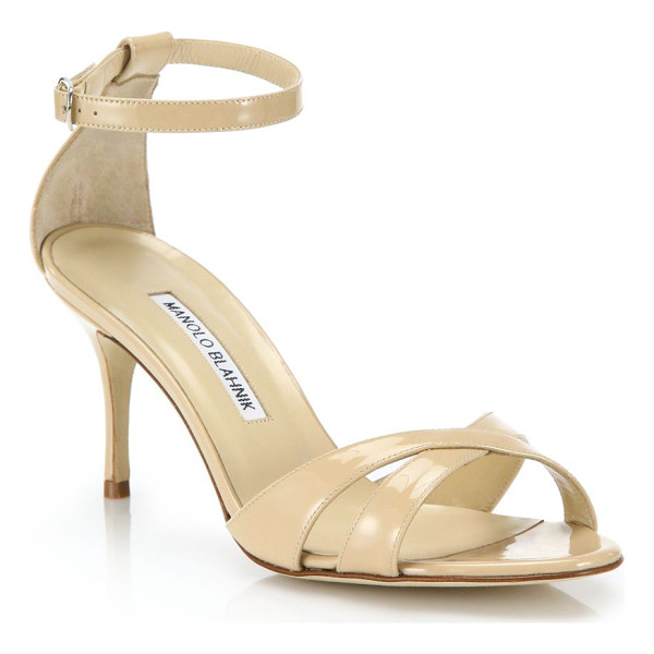 MANOLO BLAHNIK Patent leather mid-heel crisscross sandals - Timeless mid-heel sandal in glossy patent...