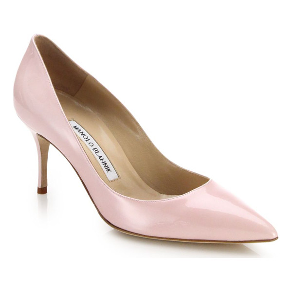 MANOLO BLAHNIK Scoop patent leather pumps - These understated, elegant patent leather pumps are the...