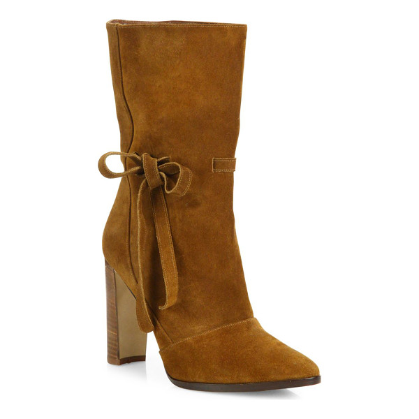 MANOLO BLAHNIK suede bow block heel boots - Suede mid-calf boot with side bow on half-moon heel....