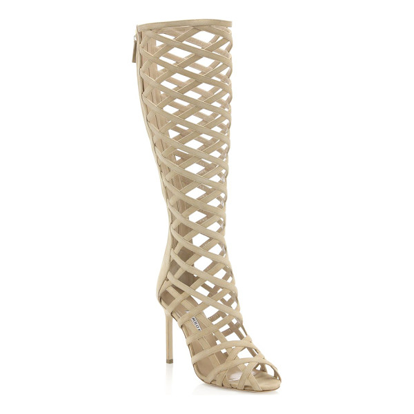 MANOLO BLAHNIK Suede lattice knee-high gladiator sandals - Suede lattice knee-high sandal set on slim stiletto...