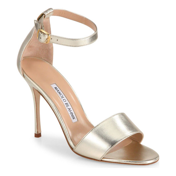 MANOLO BLAHNIK tressa 105 metallic leather ankle-strap sandals - Streamlined ankle-strap sandal in metallic leather.