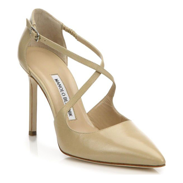 MANOLO BLAHNIK umice leather crisscross pumps - Leather d'Orsay pump with alluring crisscross straps....