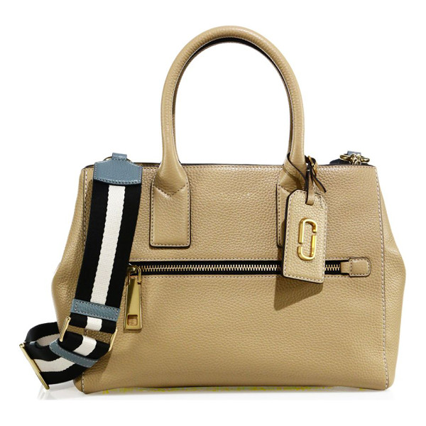 MARC JACOBS gotham leather satchel - Pebbled leather satchel with striped guitar strap. Double...