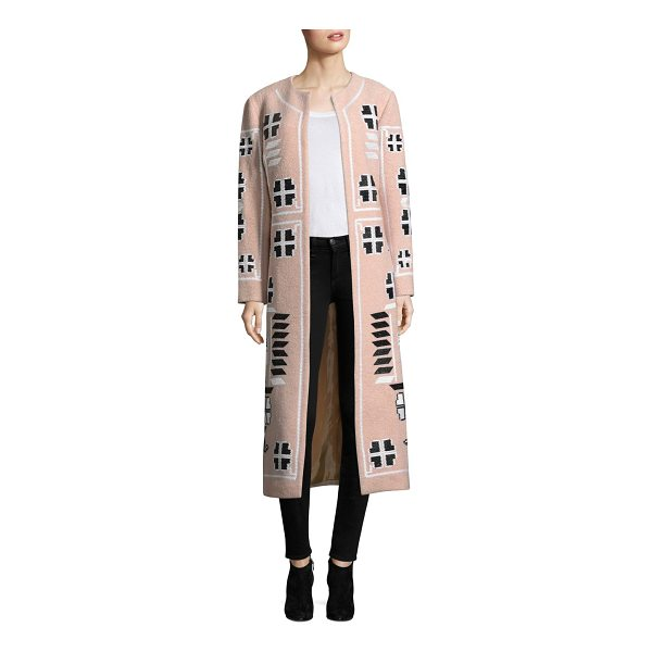 MARCH 11 embroidered wool coat - Long wool coat with decorative embroidery. Roundneck. Long...