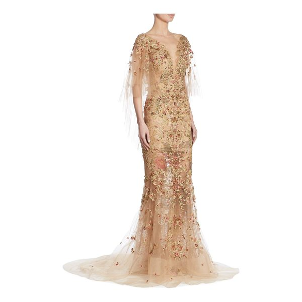 MARCHESA embellished cape gown - .Gorgeous embellished cape gown in a semi-sheer design....