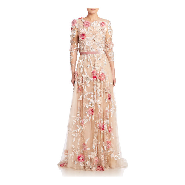 MARCHESA Floral applique tulle gown - EXCLUSIVELY AT SAKS FIFTH AVENUE. Romantic floral applique...