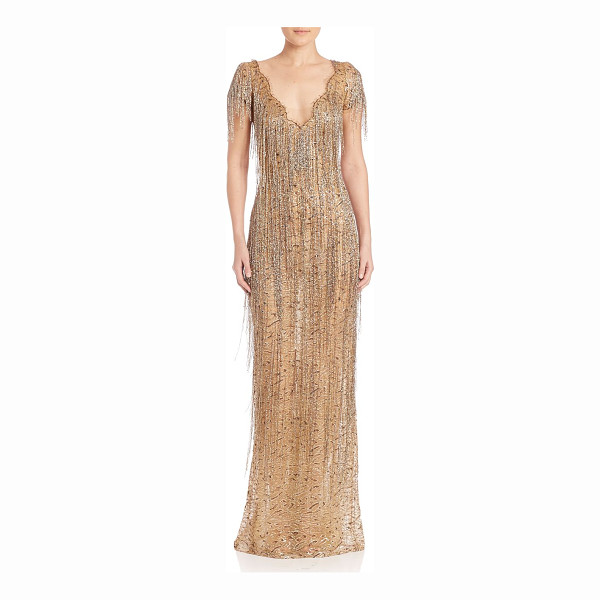 MARCHESA gold beaded fringe gown - Metallic lace gown, with incredible fringed beading....