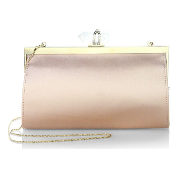 MARCHESA nina satin clutch - Satin clutch featuring a faceted accent at top. Metallic...