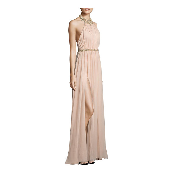 NOTTE BY MARCHESA embellished silk halter gown - Ethereal silk gown with sparkling floral embellishment....