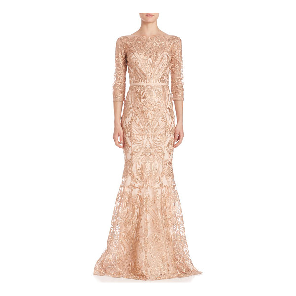 NOTTE BY MARCHESA embroidered overlay gown - Full embroidery accentuates this evening-ready silhouette....