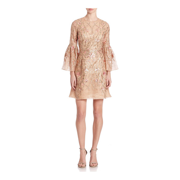 MARCHESA Embroidered trumpet-sleeve cocktail dress - Trumpet-sleeve dress with lustrous floral embroideryAllover...