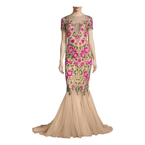 NOTTE BY MARCHESA floral embroidered mermaid gown - Floral embroidered mermaid gown with flared hem. Illusion...