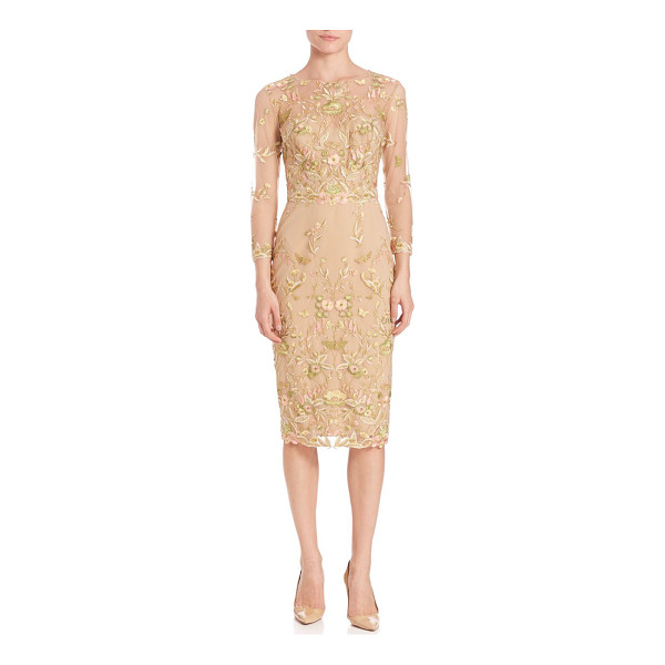 NOTTE BY MARCHESA floral embroidered sheath dress - Alluring sheath dress with eye-catching embroidery. Round...