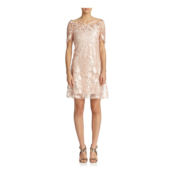 NOTTE BY MARCHESA Laser-cut floral shift - Intricate laser-cut florals bloom throughout this ethereal...