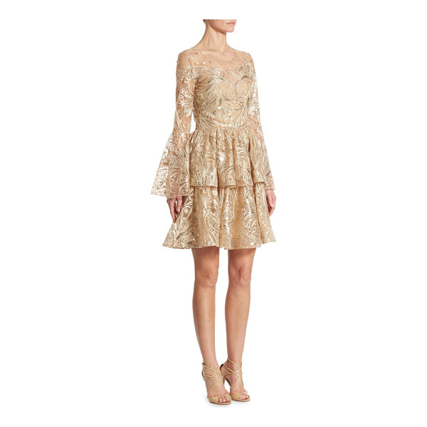 NOTTE BY MARCHESA metallic embroidered bell sleeve dress - Shimmering embroidered dress in celestial motif. Roundneck....