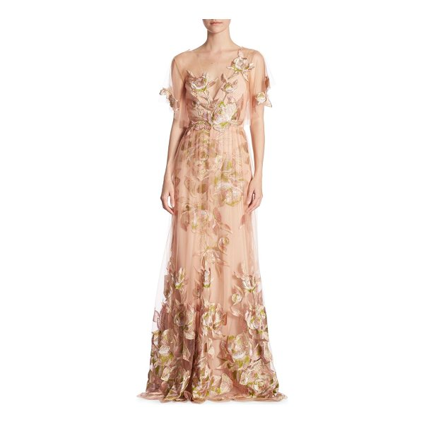 NOTTE BY MARCHESA flutter floral gown - Floor-length dress featuring embroidered details.V-neck....