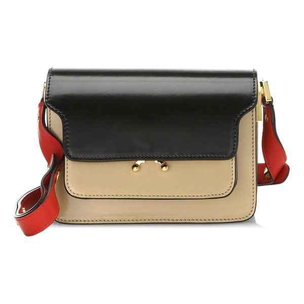 "MARNI trunk leather shoulder bag - Tri-tone shoulder bag. Adjustable shoulder strap, 22"" drop...."