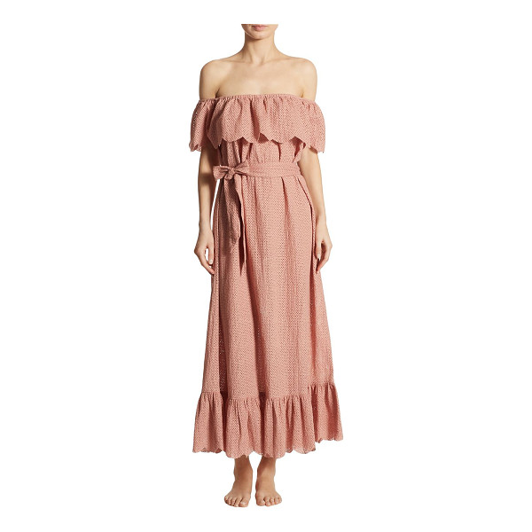 MARYSIA SWIM off-the-shoulder linen dress - Perforated linen dress finished with ruffled overlay....