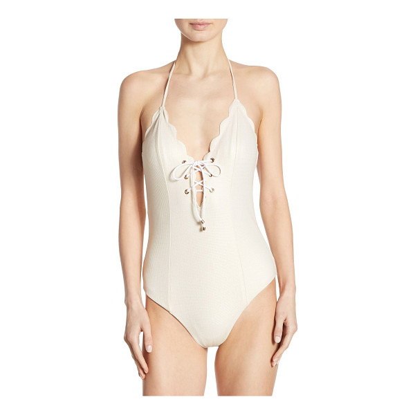 MARYSIA SWIM one-piece broadway metallic lace-up maillot - Scalloped lace-up maillot with subtle shimmer. Halterneck...