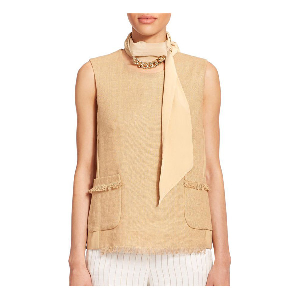 MAX MARA Ottuso skinny silk scarf - A gleaming goldtone chain accent decorates this slender...