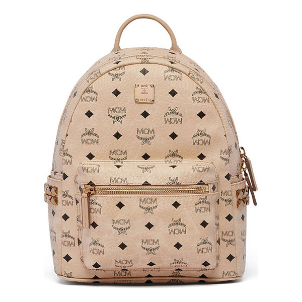 MCM stark studded coated canvas mini backpack - Signature logo-print backpack with side stud detail. Top