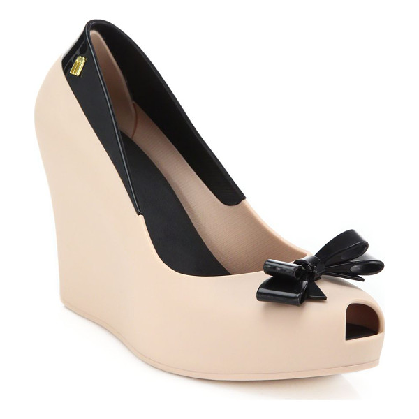MELISSA Bow peep-toe pumps - Contrast tuxedo-inspired styling transform this wedge...