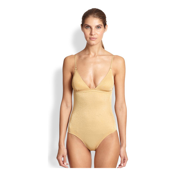 MELISSA ODABASH One-piece one-shoulder metallic swimsuit - EXCLUSIVELY AT SAKS. Designed to reveal one's inner sun...