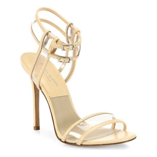 MICHAEL KORS COLLECTION brittany runway leather & vinyl pvc sandals - Leather-trimmed PVC sandal with dual ankle straps....