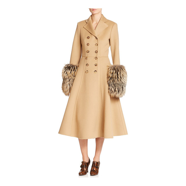 MICHAEL KORS COLLECTION Double-face wool & fox fur princess coat - Oversized fox fur cuffs lend dramatic detail to this...