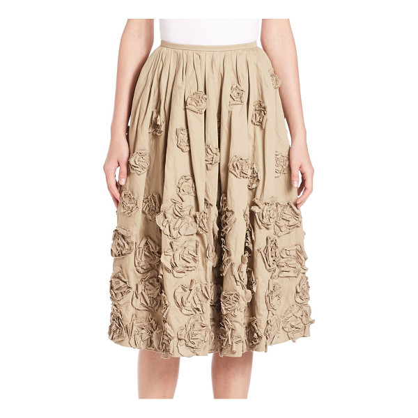 MICHAEL KORS COLLECTION Embellished cotton skirt - Floral appliques embellish pleated cotton skirtBanded...