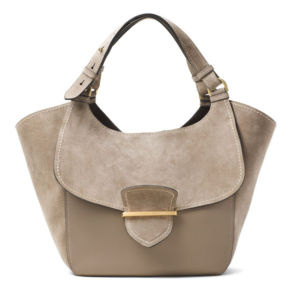 MICHAEL KORS COLLECTION josie large suede & leather shopper tote - Winged suede-and-leather tote with flap-front design....